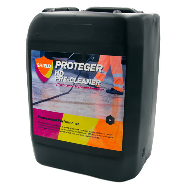 Proteger Proshield HD Pre-Cleaner effortlessly removes cement & mortar residues with a fast effective formulation that is suitable for use on all acid resistant surfaces, both internally and externally.